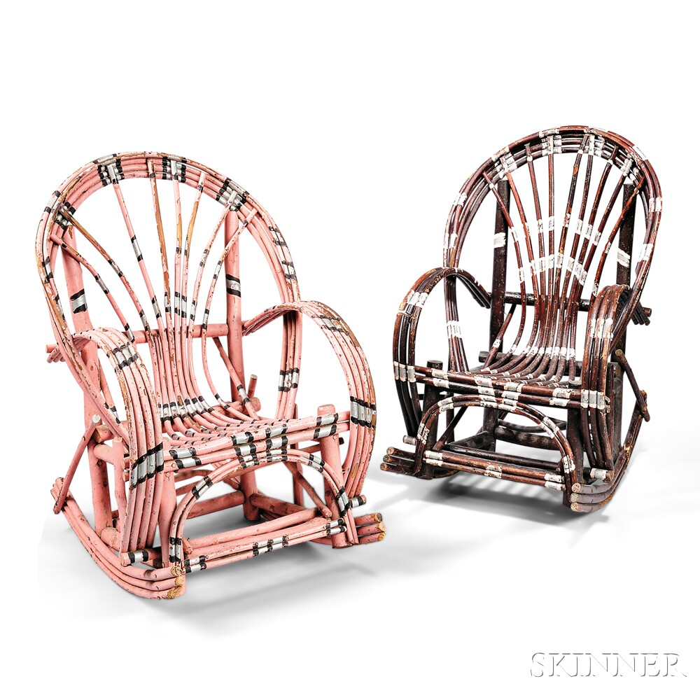 Two Arts and Crafts Child's Willow Chairs