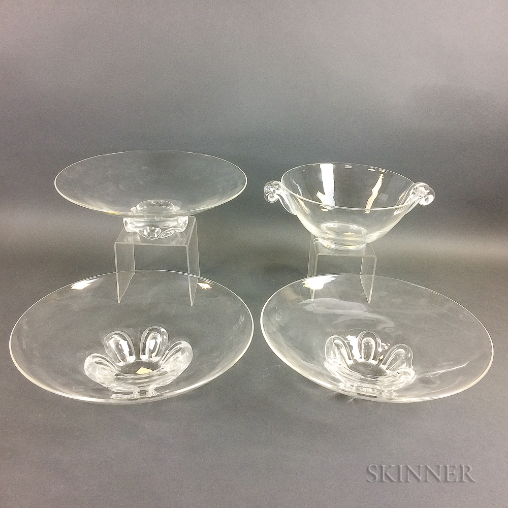 Four Steuben Crystal Serving Pieces