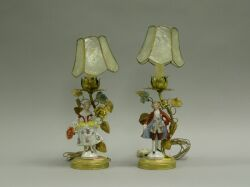 Pair of Porcelain Figural and Gilt Metal Boudoir Lamps