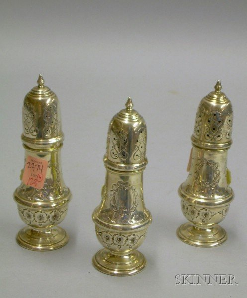 Set of Three Sterling Pepper Casters.