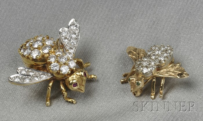Two Diamond Bee Brooches