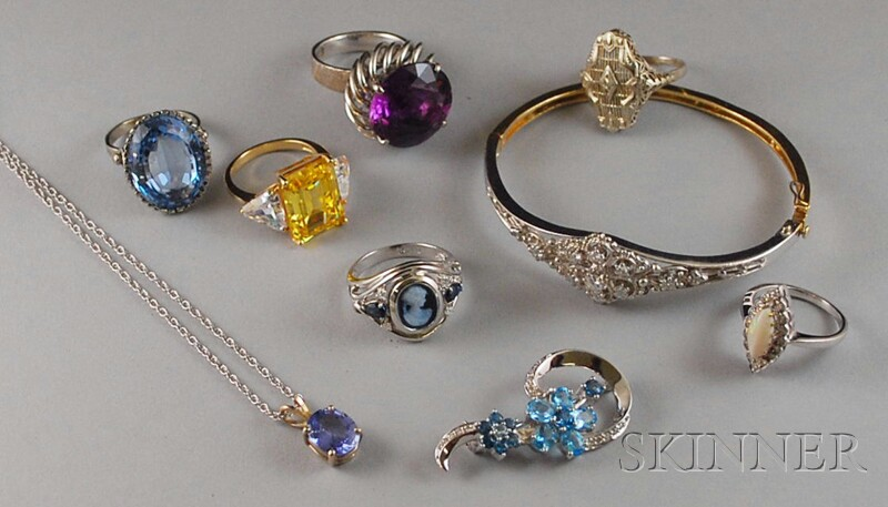 Group of Assorted Gold Gem-set Jewelry