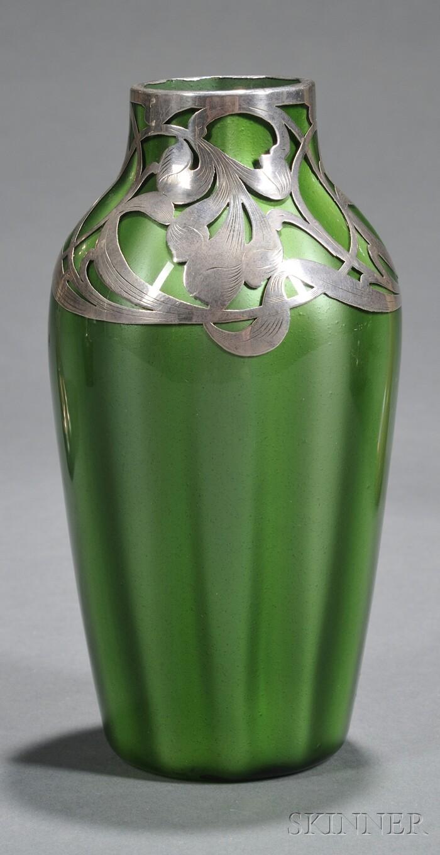Loetz Grun Metallin Vase with Art Nouveau Silver Overlay