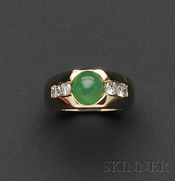 14kt Gold, Jadeite, and Diamond Ring