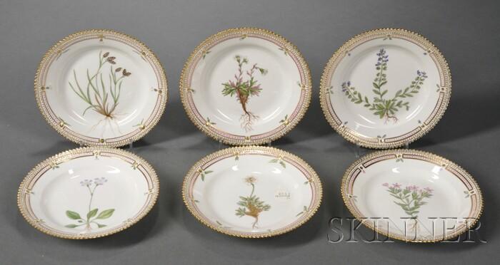"""Set of Six Royal Copenhagen Porcelain """"Flora Danica"""" Side Plates"""