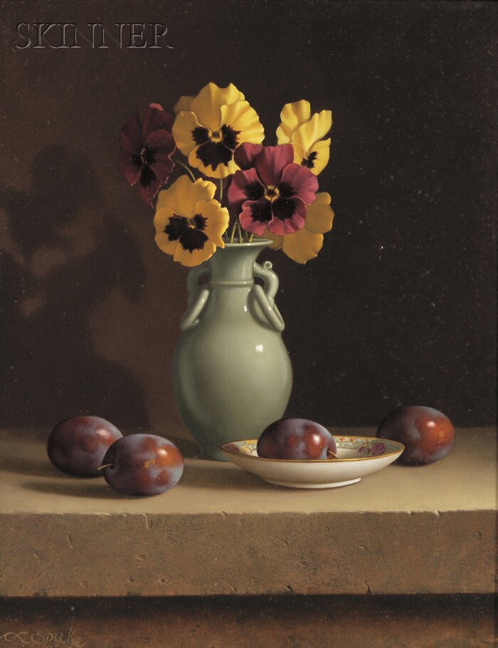 Loran Speck  (American, b. 1943)      Floral with Fruit / A Still Life with Pansies and Plums