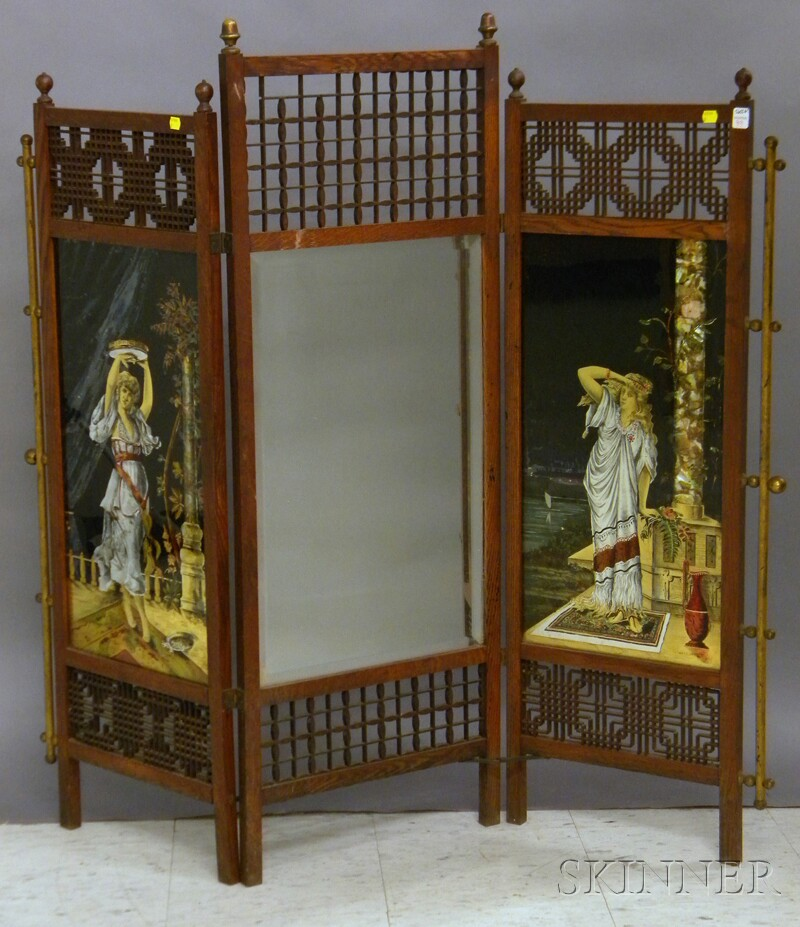 Victorian Aesthetic Movement Brass-mounted Oak, Eglomise and Mirrored   Glass Three-panel Firescreen