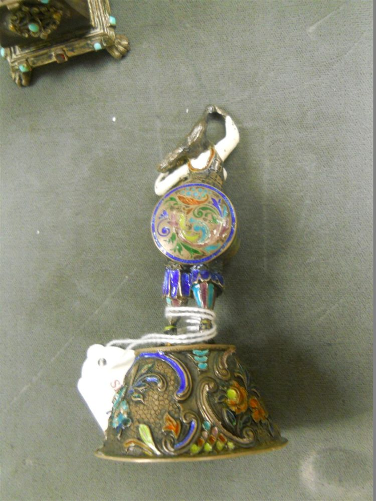 Three Austrian .750 Silver, Enamel, and Shell Figures