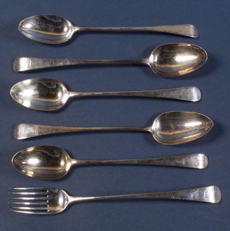 Six Assembled Georgian Silver Serving Pieces