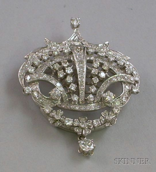 16kt White Gold and Diamond Pendant/Brooch