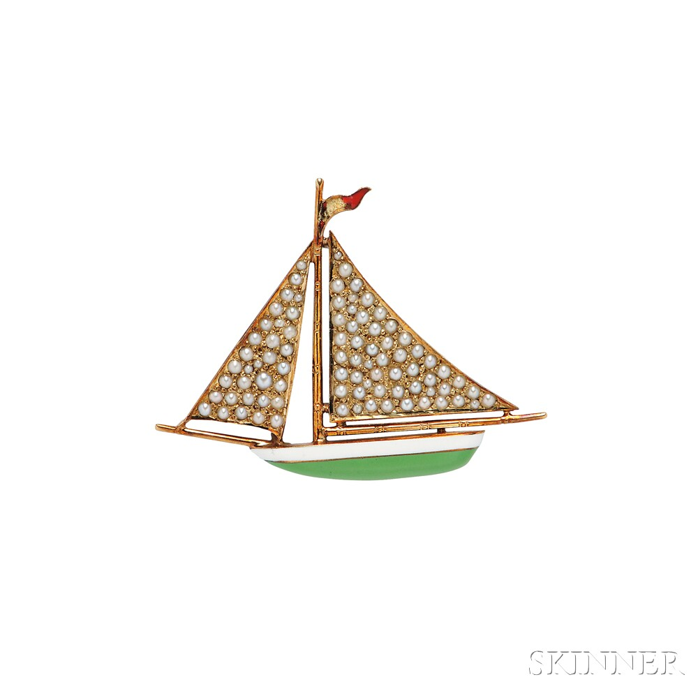 14kt Gold and Enamel Sailboat Brooch, Sloan & Co.