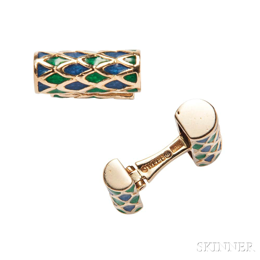 18kt Gold and Enamel Cuff Links, David Webb