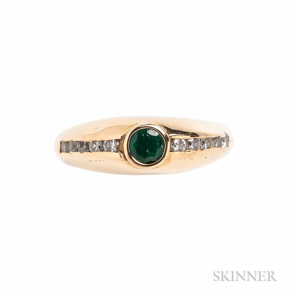 18kt Gold, Emerald, and Diamond Ring, Michael Good