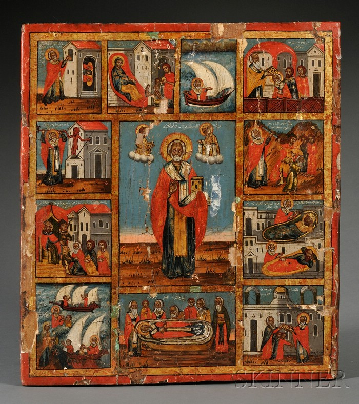 Arabic Christian Icon of St. Nicholas and Scenes from his Life