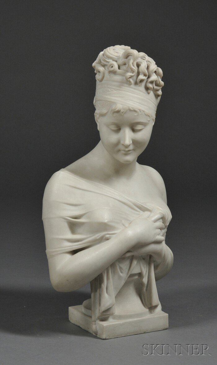 Italian Marble Bust of Madame Recamier After Joseph Chinard