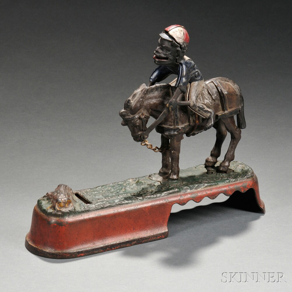 "Painted Cast Iron Mechanical ""Always Did Spise a Mule"" Bank"