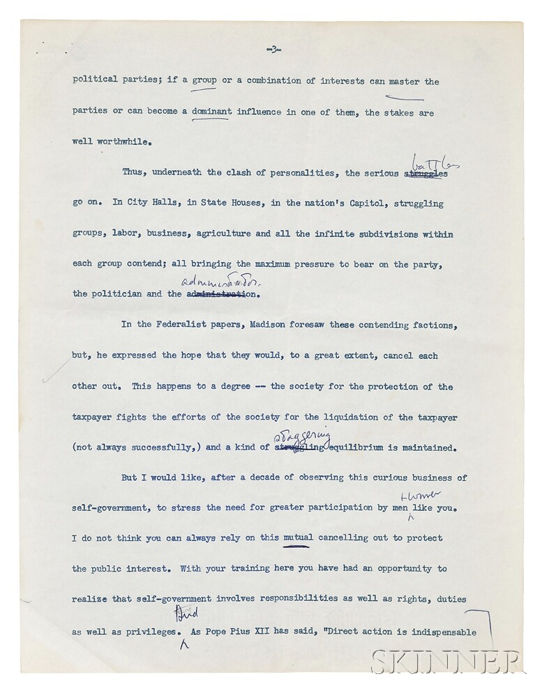 Kennedy, John Fitzgerald (1917-1963) Typed Boston College Commencement Address with Handwritten Notes; and Academic Hood, 13 June 1956.