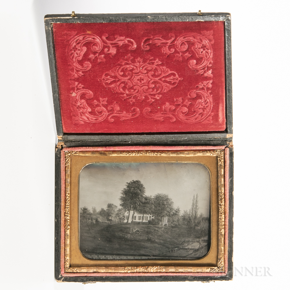 Quarter-plate Ambrotype of a Folk Painting of a House in a Wooded Landscape