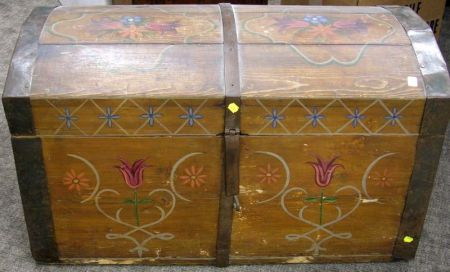 Continental Painted Floral Decorated Iron-Bound Wooden Dome-top Trunk.