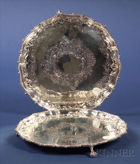 Pair of  Electroplate Georgian-style Salvers