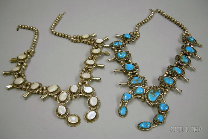 Two Southwestern Silver Squash Blossom Necklaces.