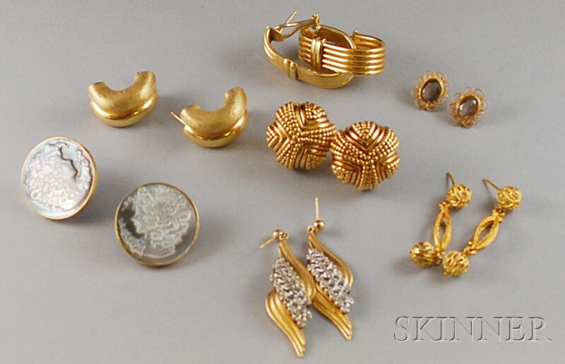 Seven Pairs of Assorted Gold Earrings