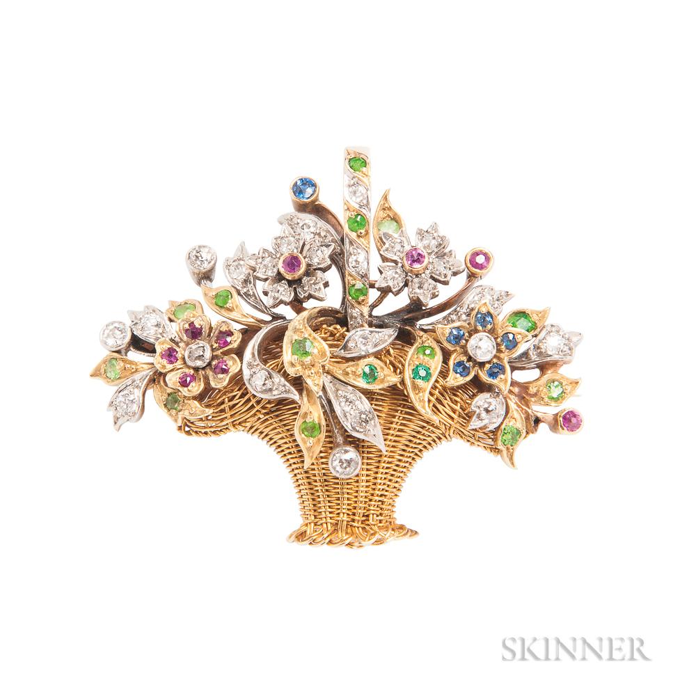 Edwardian Gem-set Flower Basket Pendant/Brooch