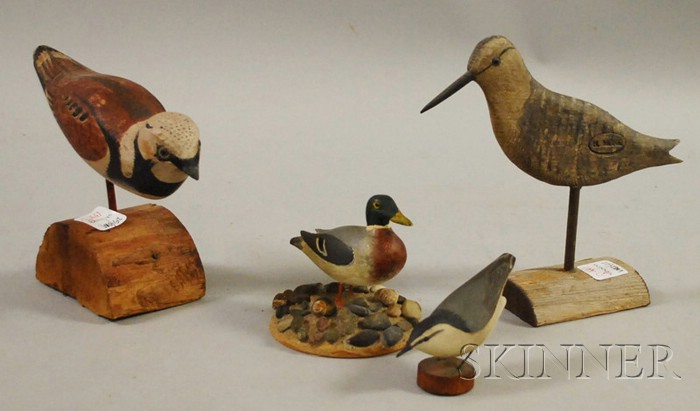 Four Carved and Painted Bird Figures