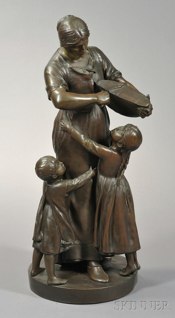 Louis-Albert Lefeuvre (French, 1845-1924)       Large Bronze Figure of a Mother Slicing Bread for Her Children