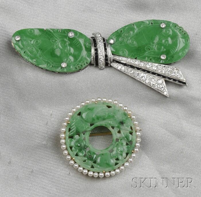 Art Deco Platinum, Jadeite, and Diamond Bow Brooch