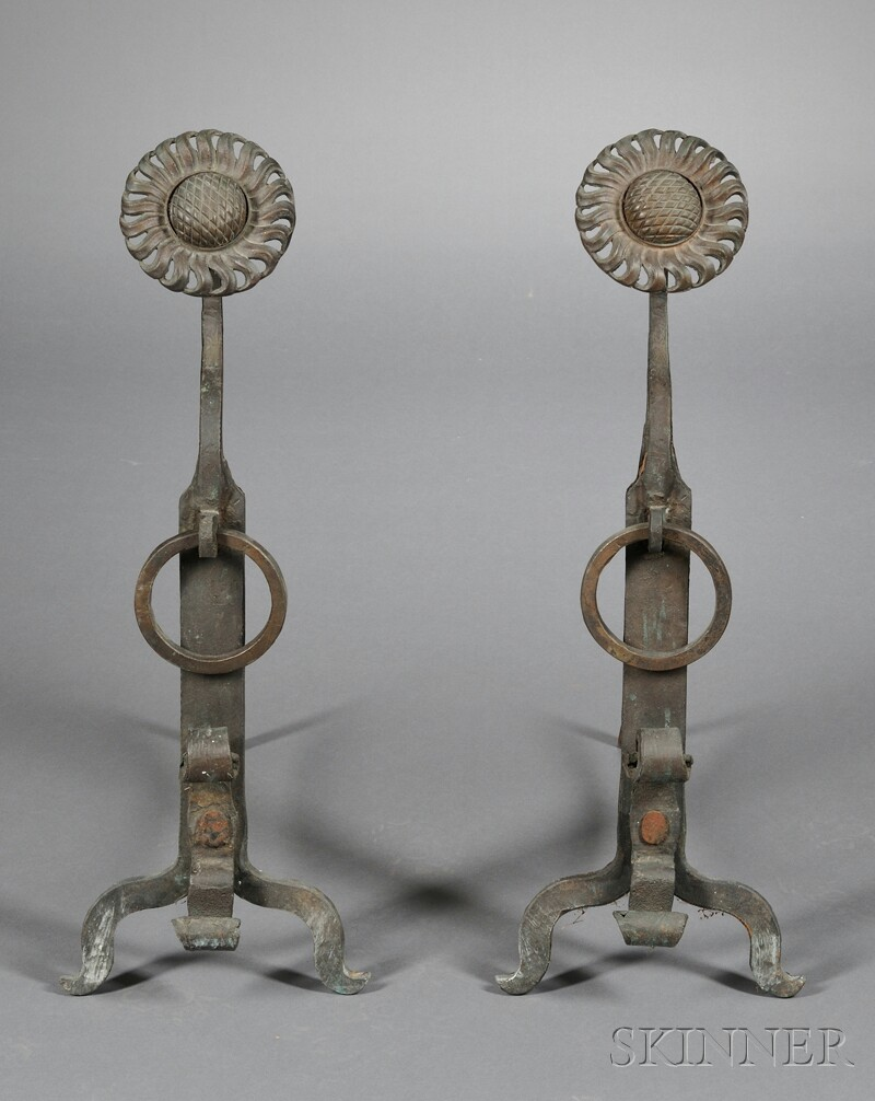 Pair of Wrought Iron Aesthetic Movement Andirons