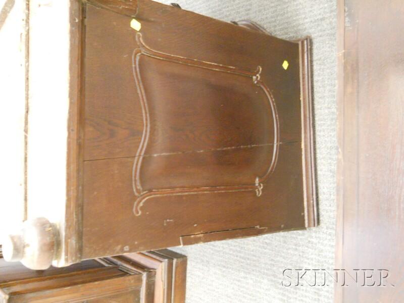 Continental Rococo Oak Bookcase Bureau