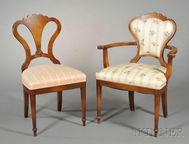 Set of Six Walnut Fan-back Dining Chairs