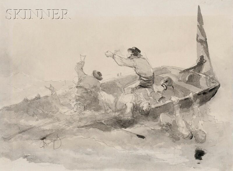 Albert Van Beest (American, 1820-1860)      Two Studies of  War of 1812 Naval Engagements