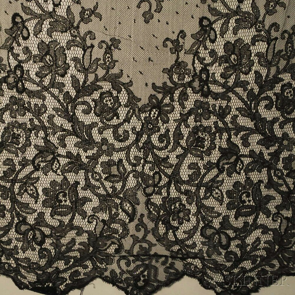 Six Square or Rectangular Black Net and Lace Articles