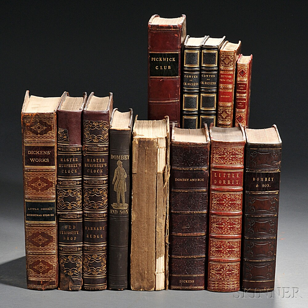 Dickens, Charles (1812-1870) Eleven Titles in Thirteen Volumes, 19th Century.
