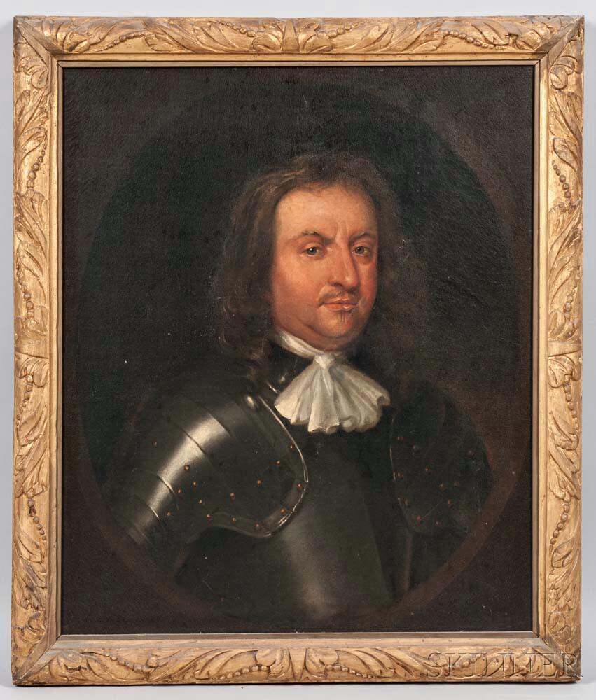 British School, 17th Century Style      Portrait of a Man in Armor
