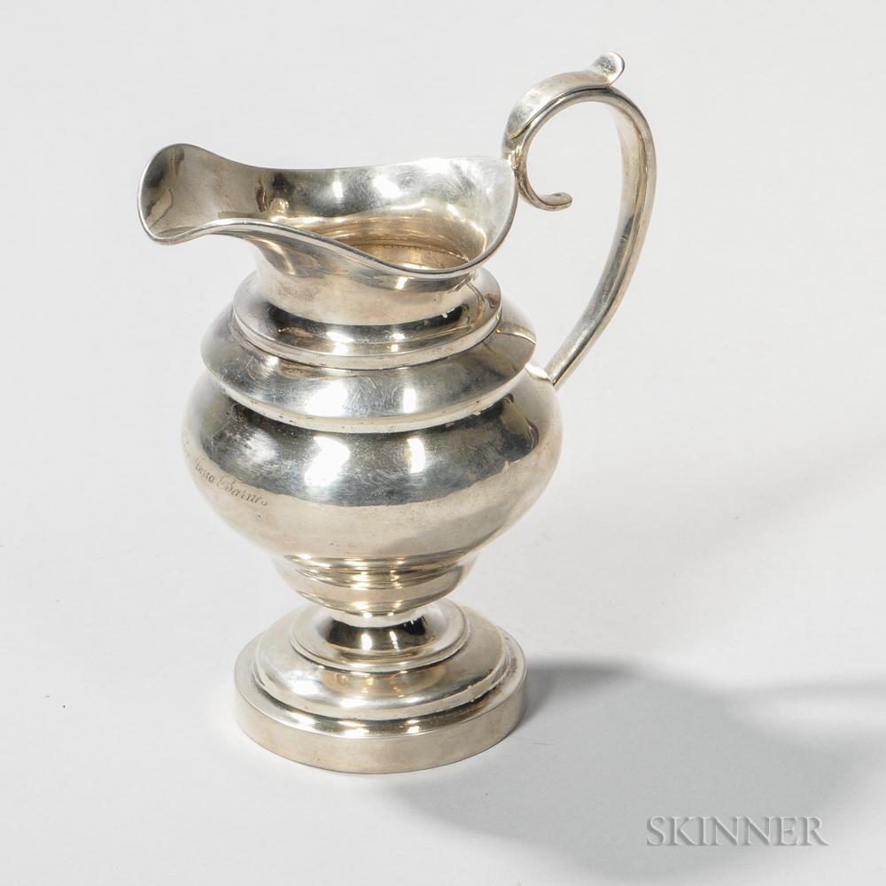 J.B. Jones & Co. Coin Silver Cream Pitcher