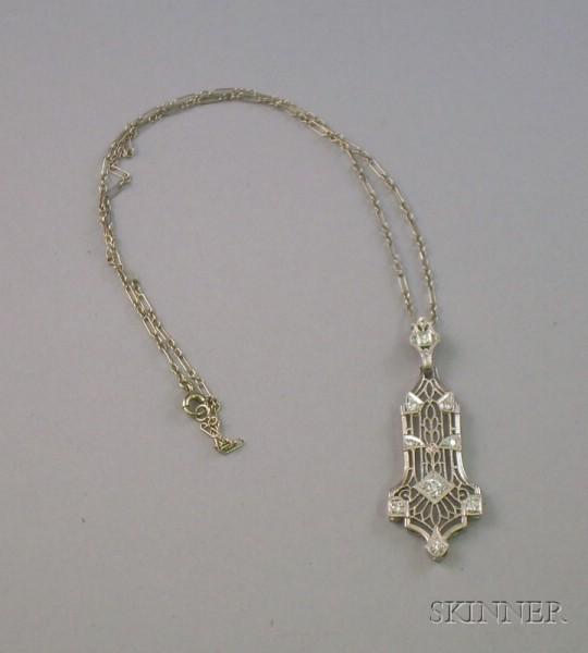 Art Deco Platinum and Diamond Pendant,
