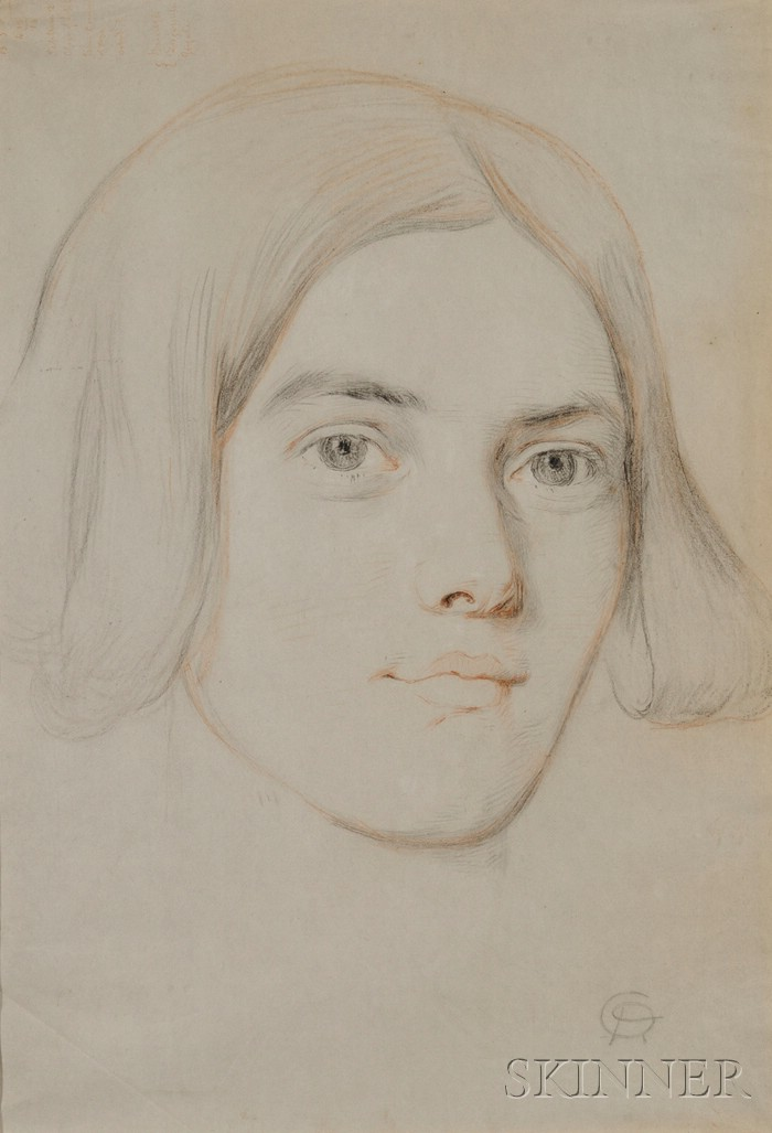 Manner of Dante Gabriel Rossetti (English, 1828-1882)      Framed Sketch of a Woman's Head, probably 20th Century.