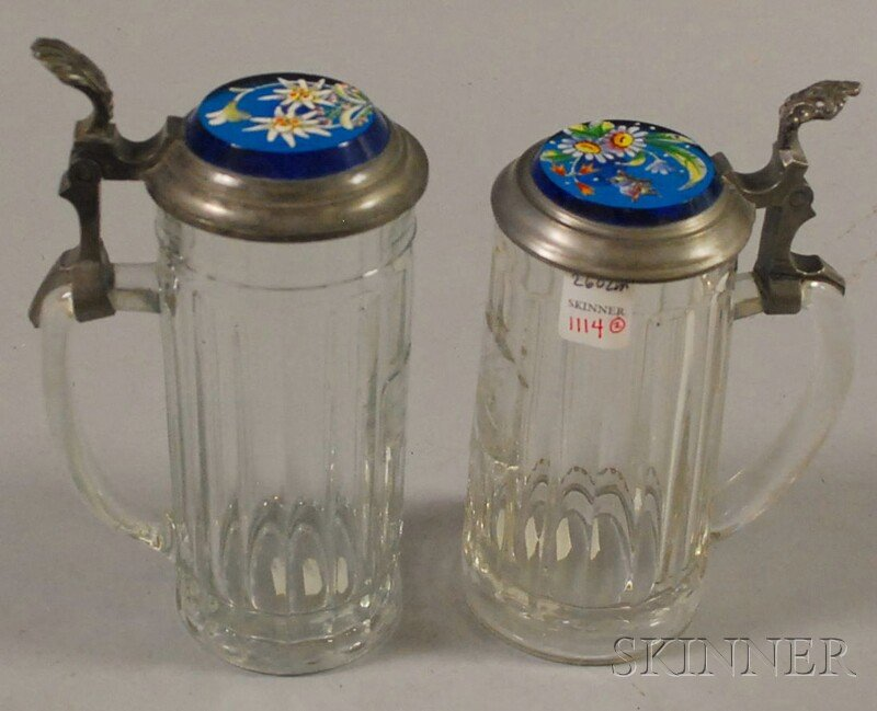 Two European Enamel Floral-decorated Turquoise Glass and Pewter-lidded Colorless   Glass Steins