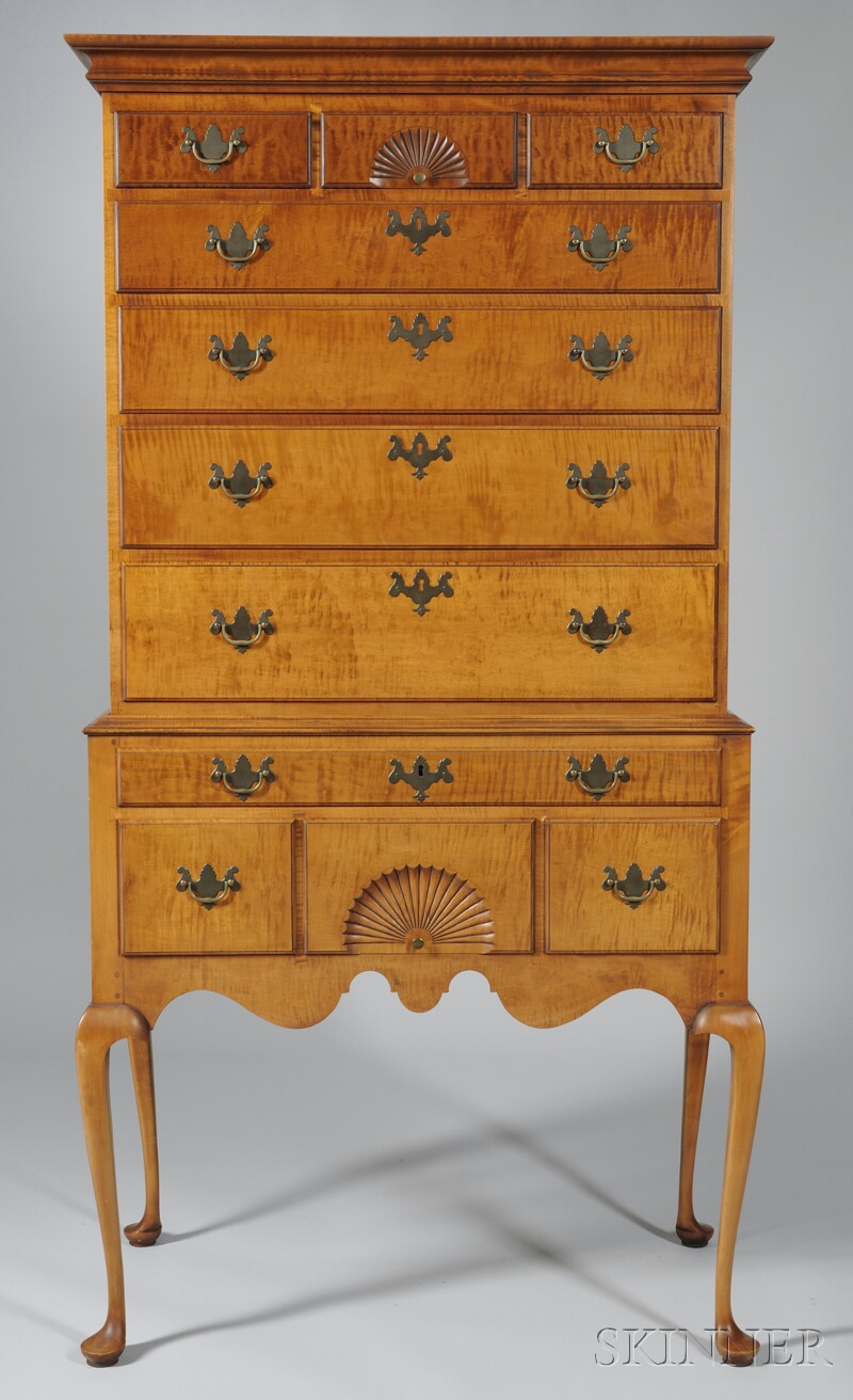 Eldred Wheeler Queen Anne-style Carved Tiger Maple and Maple Flat-top Highboy