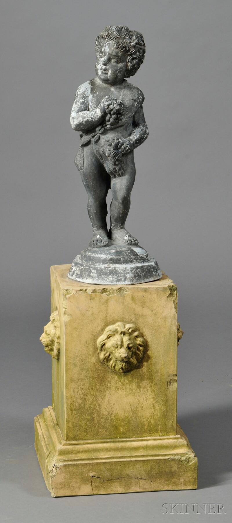 George III Lead Garden Figure on Doulton Terra-cotta Stand