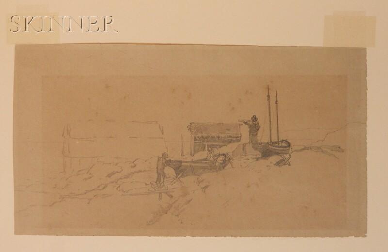 William Bradford (American, 1823-1892)    Hauling Boats Ashore.