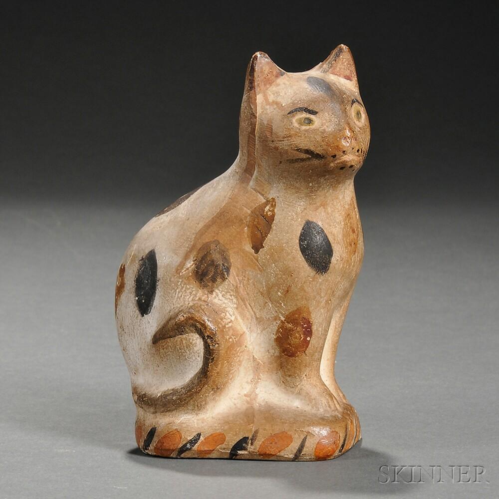 Polychrome Chalkware Calico Cat