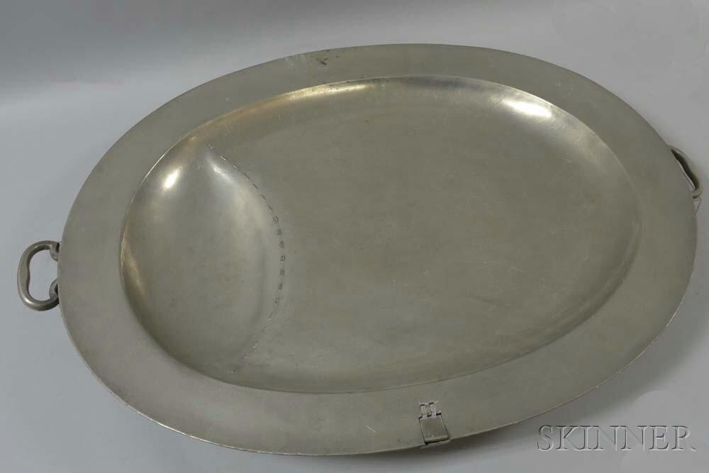 Large Pewter Warming Platter