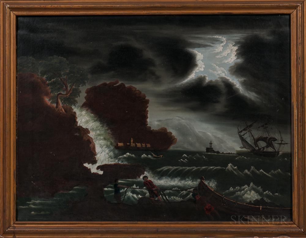 William Matthew Prior (Massachusetts/Maine, 1806-1873)      Stormy Harbor Scene