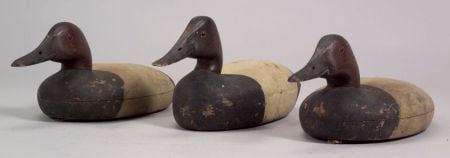 Three Carved and Painted Canvasback Duck Decoys