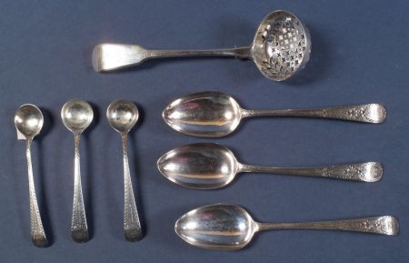 Seven Georgian Flatware Items