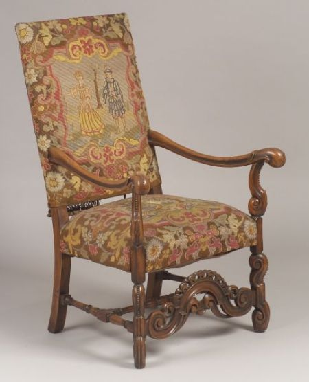 Baroque-style Needlepoint Tapestry Upholstered Carved Walnut Armchair.